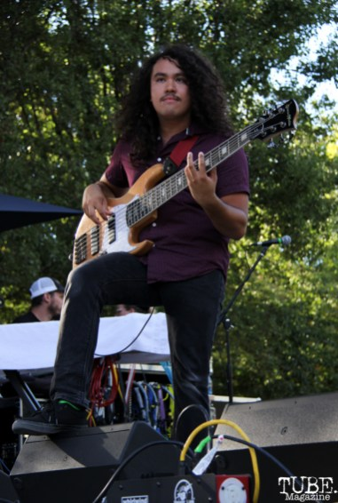 Bassist Jarom Horner of PointDexter, Concerts in the Park, Cesar Chavez Park, Sacramento, CA. July 15, 2016. Photo Anouk Nexus