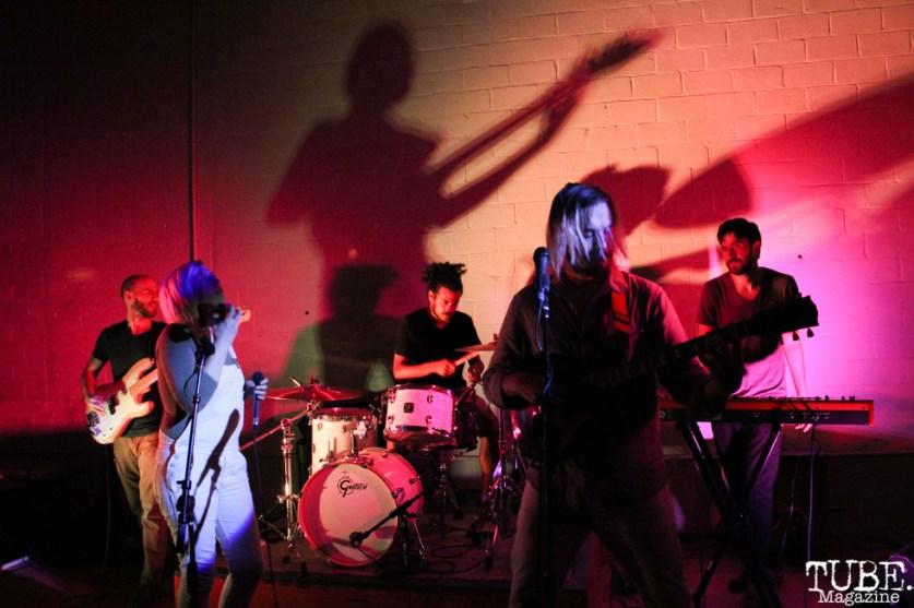 Vocalist Alexandra Steele, Bassist Dave Middleton, Vocalist/Guitarist Geoffrey CK, Drummer Omar Gonzalez, and Keyboardist Zack Hake of Sunmonks, Red Museum, Sacramento, CA. July 17, 2016. Photo Anouk Nexus