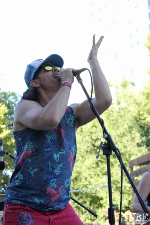 Vocalist Hans Eberbach of Hans! and the HOT MESS, Concerts in the Park, Cesar Chavez Park, Sacramento, CA. July 15, 2016. Photo Anouk Nexus