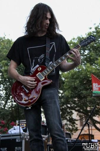 Guitarist Stephen Hendry of Drop Dead Red, Concerts in the Park, Cesar Chavez Park, Sacramento, CA. July 15, 2016. Photo Anouk Nexus