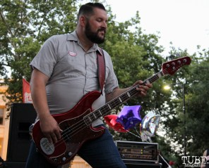 Bassist of Drop Dead Red, Concerts in the Park, Cesar Chavez Park, Sacramento, CA. July 15, 2016. Photo Anouk Nexus