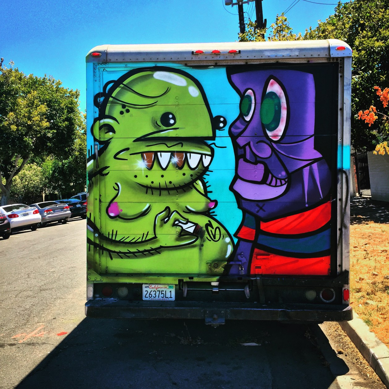 Delivery truck collaboration, multiple artists, 3503 Broadway, Sacramento, CA