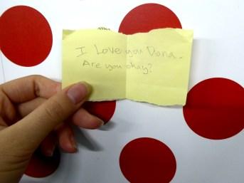 Note from Dich's boyfriend. Photo: Justina Martino.