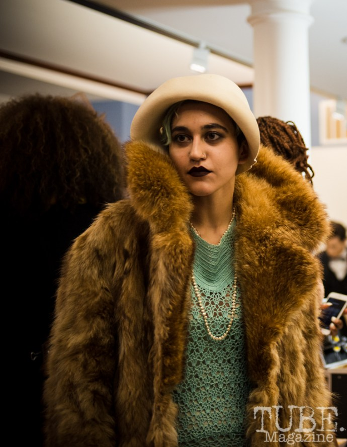 Racks model behind the scenes of the fashion show at Vintage Swank ArtMix, Crocker Art Museum, March 2017. Photo Melissa Uroff