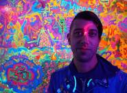 Artist Micah Young at TUBE.'s dance party and coloring book issue release, DOPE. The Press Club, Sacramento CA. April 2017. Photo Joey Miller.