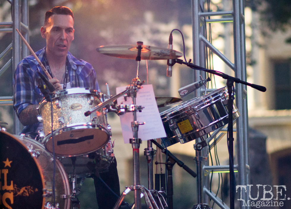 Christopher Amaral, Drummer for the Nickel Slots. Concert in the Park, Sacramento CA 2017 Photo Dan Tyree