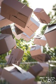 Tammy Helenske's box installation at First Fest, in West Sacramento CA. May 2017. Photo Heather Uroff.