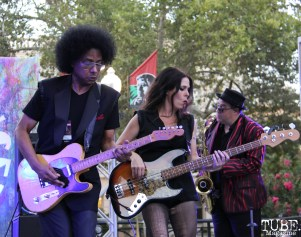 Guitarist Bobby G Gonzales, Bassist Miss Nyxi, and Saxophonist Tim Taylor of Joy and Madness, Concerts in the Park, Cesar Chavez Park, Sacramento, CA. July 21, 2017. Photo Anouk Nexus