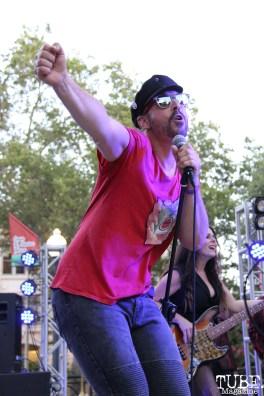 Vocalist Hans Eberbach of Joy and Madness, Concerts in the Park, Cesar Chavez Park, Sacramento, CA. July 21, 2017. Photo Anouk Nexus