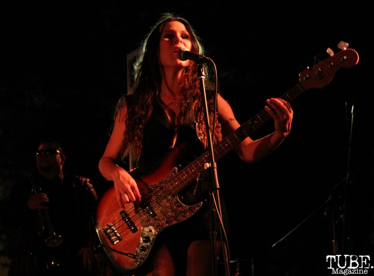 Bassist Miss Nyxi of Joy and Madness, Concerts in the Park, Cesar Chavez Park, Sacramento, CA. July 21, 2017. Photo Anouk Nexus