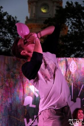 Audience member onstage for Vista Kicks, Concerts in the Park, Cesar Chavez Park, Sacramento, CA. June 30, 2017. Photo Anouk Nexus