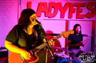 Briana (guitar) and RJ (drums) of Monster Treasure in Sacramento CA for Ladyfest. July 21, 2017. Photo Cam Evans