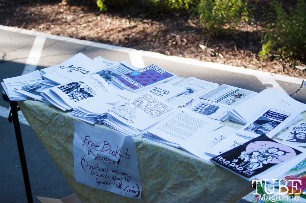 Zine table in Sacramento CA for Ladyfest. July 22, 2017. Photo Cam Evans