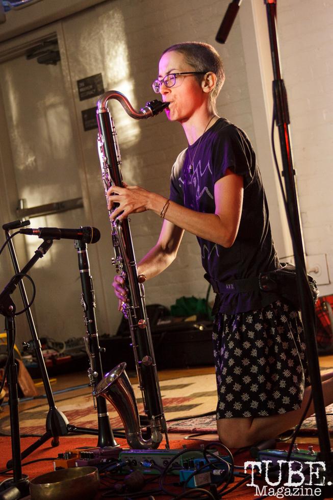Rachel of nonbinaryokay performing in Sacramento CA for Ladyfest. July 21, 2017. Photo Cam Evans