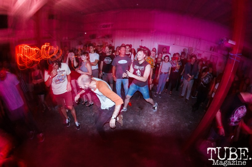 The crowd for Drug Apts at The Red Museum for Red Ex Volume 1 in Sacramento, CA (8-26-2017). Photo Cam Evans