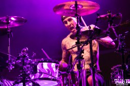 Drummer Travis Barker of Blink-182, City of Trees, Papa Murphy's Park, Sacramento, CA. September 24th, 2017. Photo Mickey Morrow