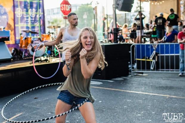 Attendee hula hooping, THIS is Midtown, 20th street, Sacramento, CA. September 9, 2017. Photo Mickey Morrow