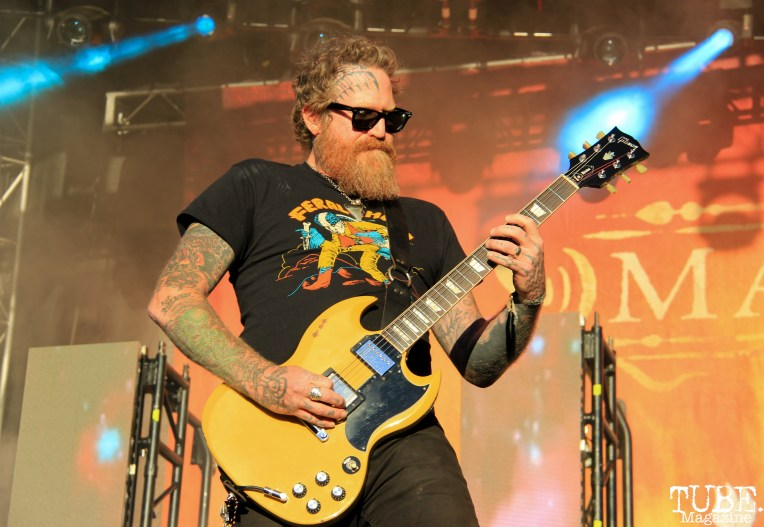Guitarist Brent Hinds of Mastodon, Aftershock, Discovery Park, Sacramento, CA. October 21, 2017. Photo Anouk Nexus