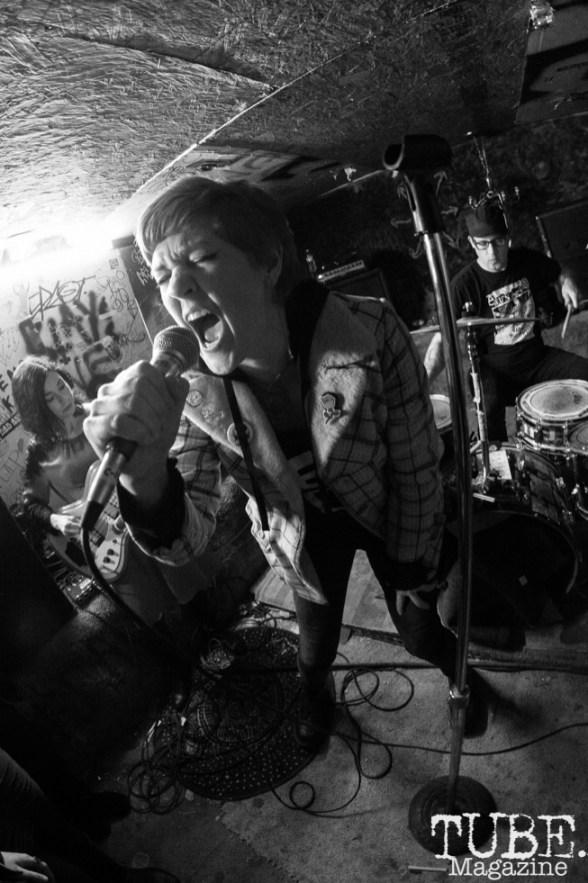 Meg Larkin of Spiting Roses performing at Casa De Chaos in Sacramento,CA (12/15/2017). Photo Cam Evans