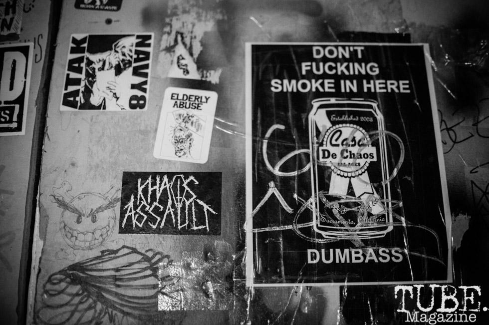 Casa de Chaos' posted rules, in Sacramento Ca. December 2017. Photo Heather Uroff.