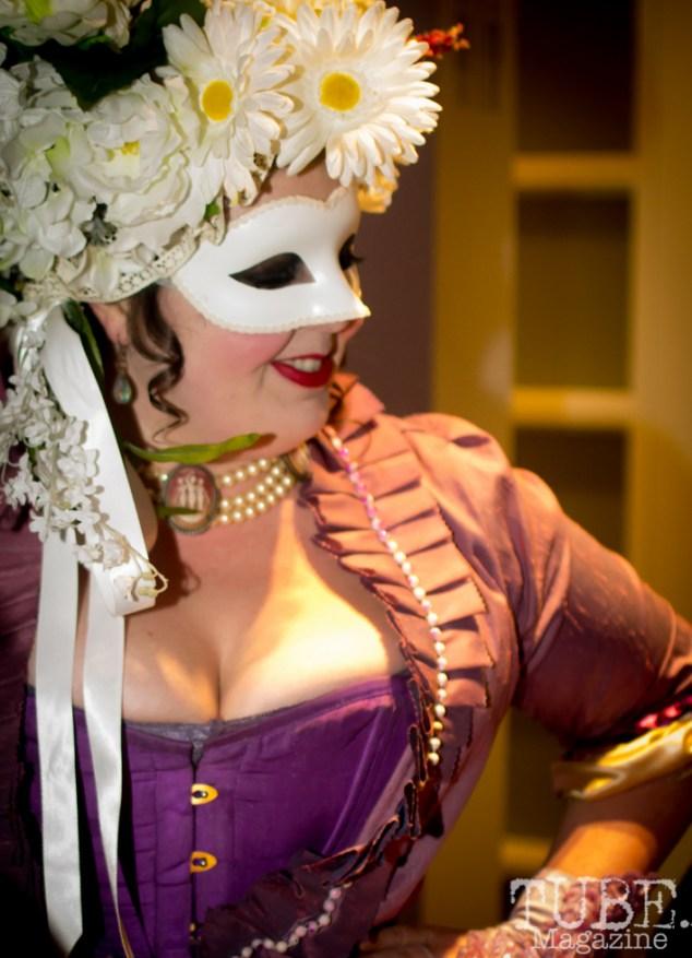 A member of Green Valley Theater, Art Mix Masquerade, Crocker Art Gallery, Sacramento, CA January 11, 2018, Photo by Daniel Tyree