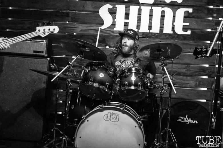 Drummer David Lee of Shotgun Sawyer, Shine, Sacramento, CA. February 2, 2018. Photo Mickey Morrow