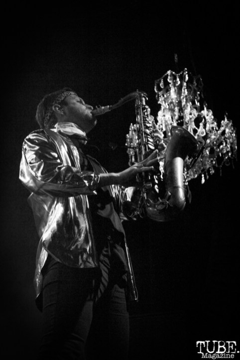 Saxophonist Daro Behrooz of Lucky Chops, The Fillmore, San Francisco, CA. February 27th, 2018. Photo Anouk Nexus