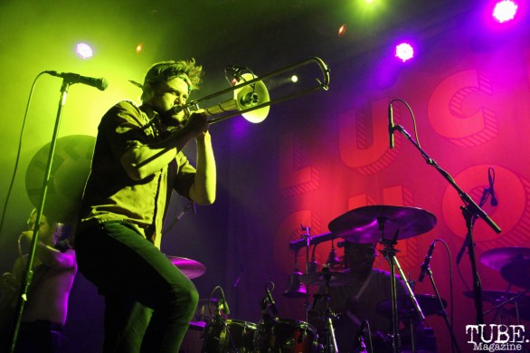 Trombonist Josh Holcomb of Lucky Chops, The Fillmore, San Francisco, CA. February 27th, 2018. Photo Anouk Nexus