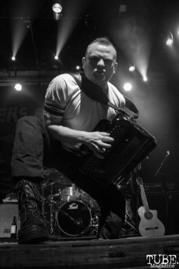 Accordion player Pasha Newmer of Gogol Bordello, The Fillmore, San Francisco, CA. February 27th, 2018. Photo Anouk Nexus