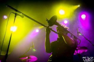 Trombonist Josh Holcomb of Lucky Chops, The Fillmore, San Francisco, CA. February 27th, 2018. Photo Anouk Nexus