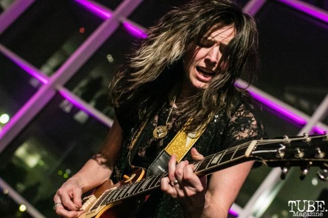 Guitarist Whitney Petty of Thunderpussy, ArtMix Fierce, Crocker Art Museum, Sacramento, CA. March 8th, 2018. Photo Mickey Morrow