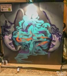Work in progress by Frankie Gamez, The 24k Block Party, May 19, 2018, Sacramento, CA, Photo by Daniel Tyree