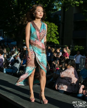 Wendy Li wearing clothes from LadyBuggz Boutique, Dress Up-Wine Down, Capitol Avenue, Sacramento, CA. May 12th, 2018. Photo Mickey Morrow