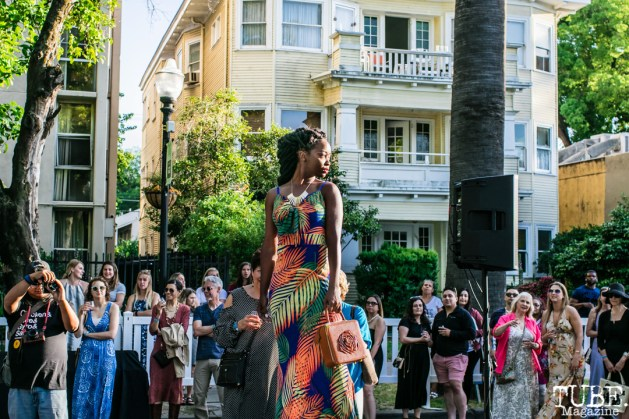 Alanah Longmire wearing clothes from LadyBuggz Boutique, Dress Up-Wine Down, Capitol Avenue, Sacramento, CA. May 12th, 2018. Photo Mickey Morrow