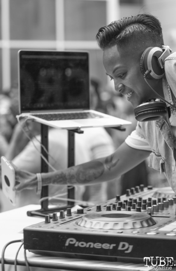 DJ Lady Char at Art Mix Pride: The Musical, Crocker Art Museum, Sacramento, CA, June, 14, 2018, Photo by Daniel Tyree