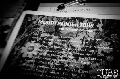 Mouth Painter Tour sign displayed as The Colony, in Sacramento CA. July 2018. Photo by Heather Uroff.