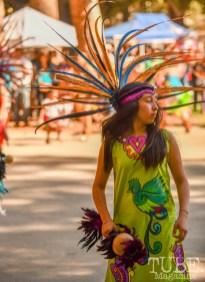 A Maquilli Tonatiuh Aztec Dancer, Festival en la Calle, Southside Park, Sacramento, CA September 16, 2018, Photo by Daniel Tyree