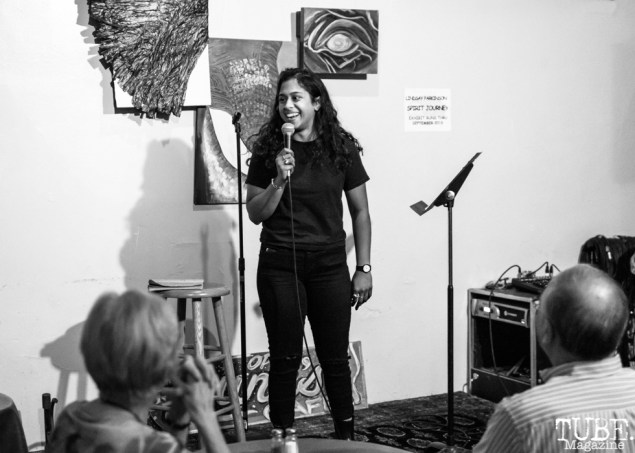 Comedian Sureni Weerasekera, Invisible Disabilities open mic. Luna's Cafe, Sacramento, CA. September 12th, 2018. Photo by Mickey Morrow.