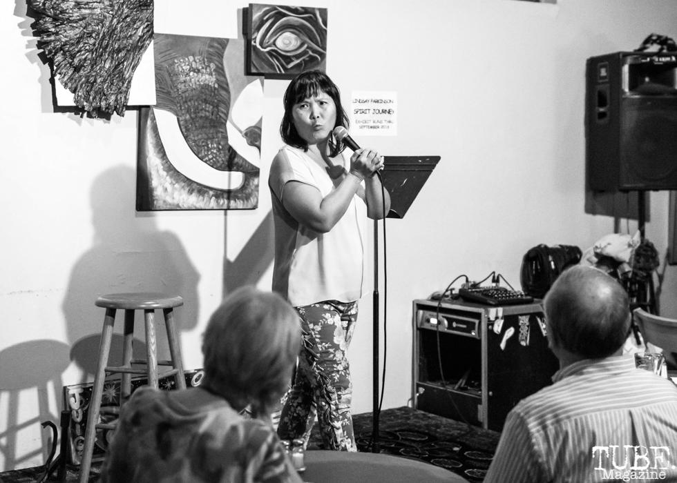 Comedian Nicole Tran, Invisible Disabilities open mic. Luna's Cafe, Sacramento, CA. September 12th, 2018. Photo by Mickey Morrow.