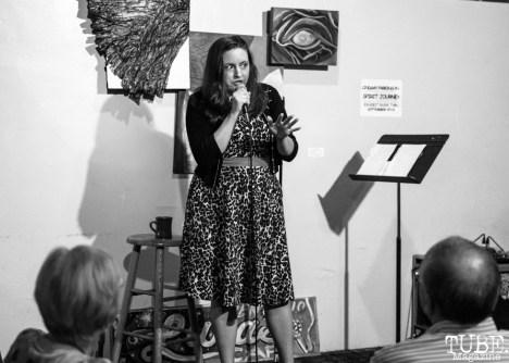 Comedian Nina G, Invisible Disabilities open mic. Luna's Cafe, Sacramento, CA. September 12th, 2018. Photo by Mickey Morrow.
