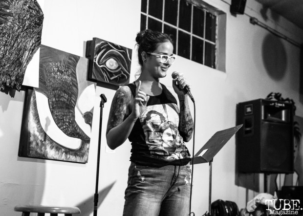 Comedian Anica Cihla, Invisible Disabilities open mic. Luna's Cafe, Sacramento, CA. September 12th, 2018. Photo by Mickey Morrow.