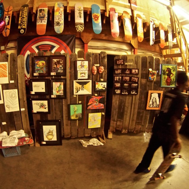 Featured art wall, Art Show, Boulevard Skate Shop, September 22, 2018, Sacramento CA. Photo by Joey Miller