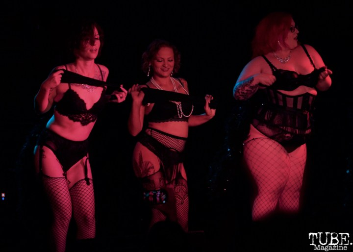 Students Grimly Fiendish, Delta Tease and Cherry Poppin perform at The Grrrly Show Harlow's Night Club September 13th, 2018, Photo by Joey Miller
