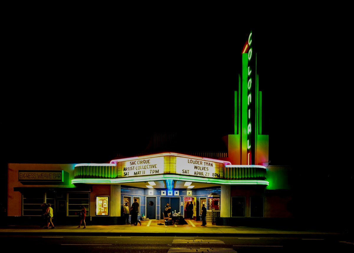 The Colonial Theater with the marquee displaying the name of the show