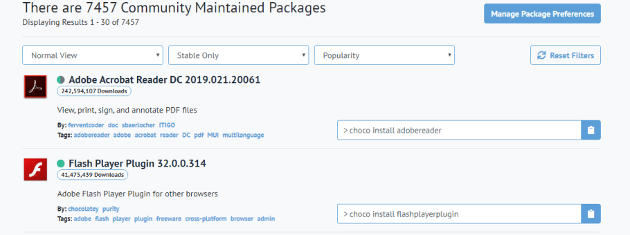 how to install packages and software with chocolatey