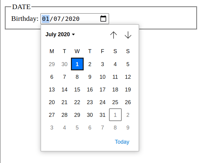 html 5 input date data type