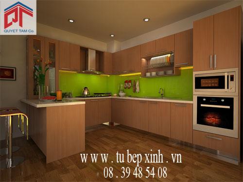 Tủ bếp gỗ tự nhiên nhà anh Hải-quận 1