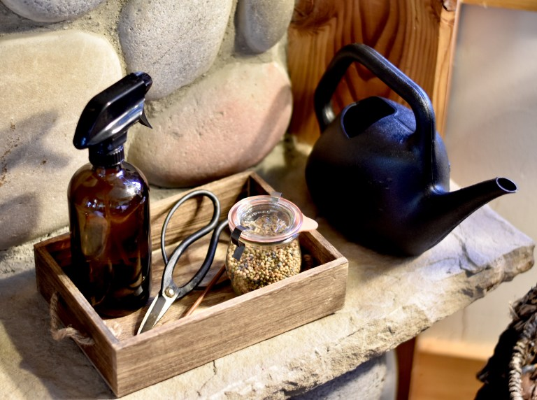 A tray with an amber misting bottle, scissors, a jar full of fertilizer, and a black watering can