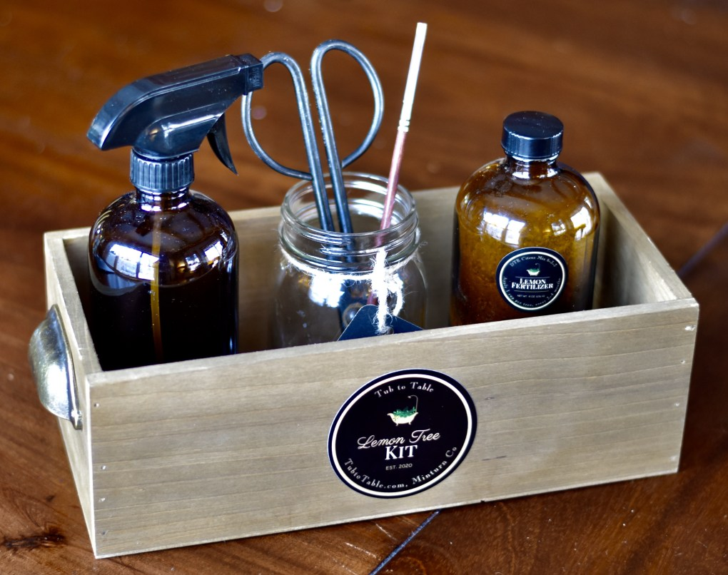 An elegant lemon tree care kit in reclaimed wooden box.