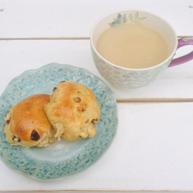 Hot cross buns with tea!